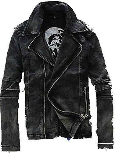 Black Mens Punk Moto Washed Denim Trendy Jean Jacket Coat Fengbay http   www bb28ce4f31
