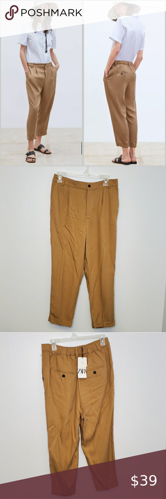 How To Hem Pants With A Cuff Zara Trouser With Roll Up Cuff Hem Menswear Pants Zara Mid Rise Pant With Interior Elastic Waist Front Pockets And Back Double We In 2020 Zara Trousers Menswear Pants