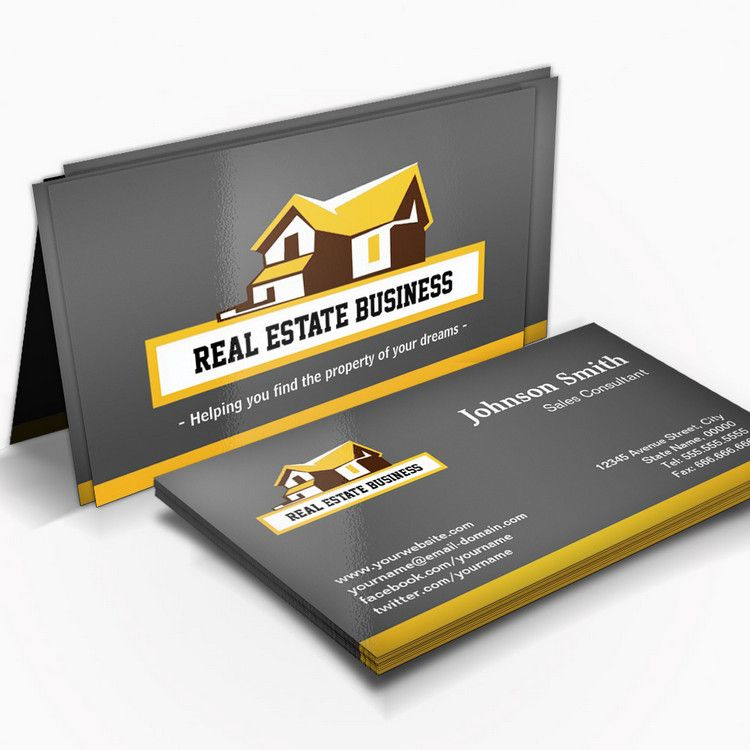 Real Estate Broker Realtor Modern Stylish Yellow Business Card Template You Can Custom Unique Business Cards Real Estate Business Cards Yellow Business Card