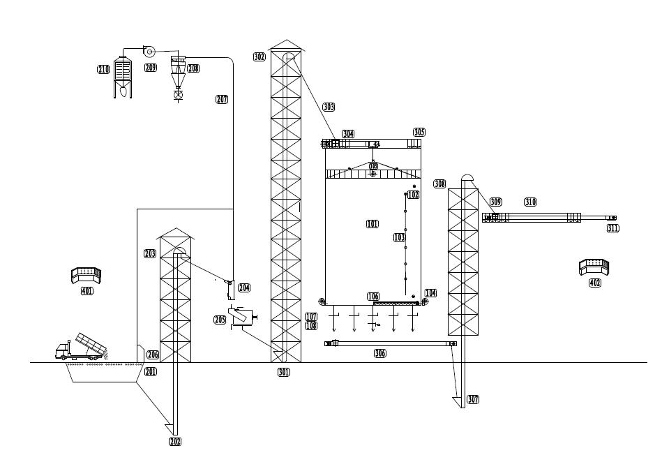 Silo Design For 5000 Ton Grain Storage Steel Silo Flow Chart From Www Cnsilos Com Grain Storage Silos Technical Drawing