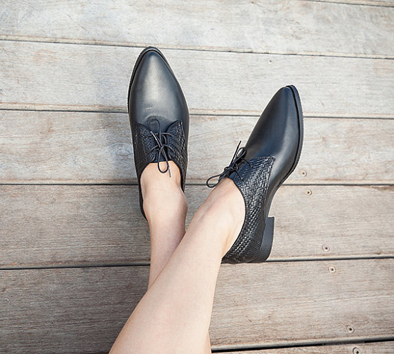 Womens Leather Oxford Shoes Black Flat