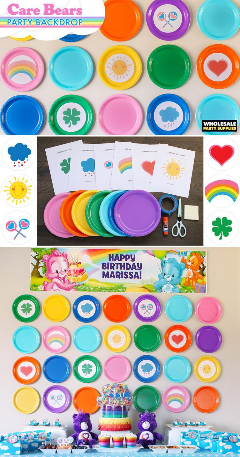Care Bears Party Backdrop Paper Plates And Templates Care