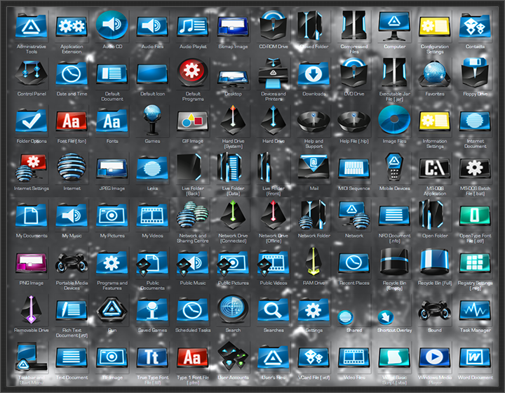 Cleodesktop Mod Desktop Encounter Blue Icon Pack 7tsp