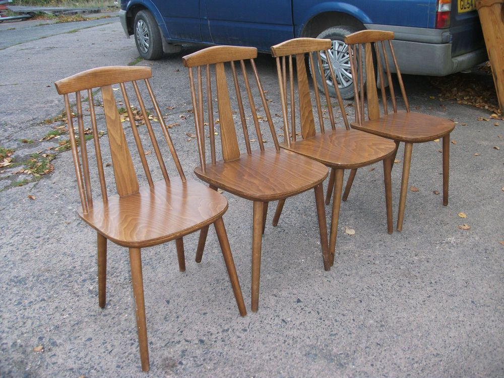 Groovy Set 4 Vintage Stick Back Kitchen Dining Chairs Retro 60S 70S Alphanode Cool Chair Designs And Ideas Alphanodeonline