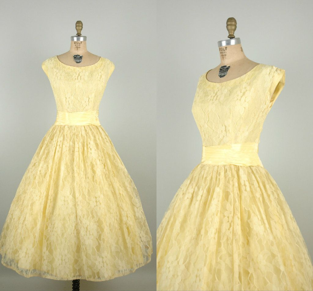 1950s Pale Yellow Prom Dress Vintage Lace Tea Length