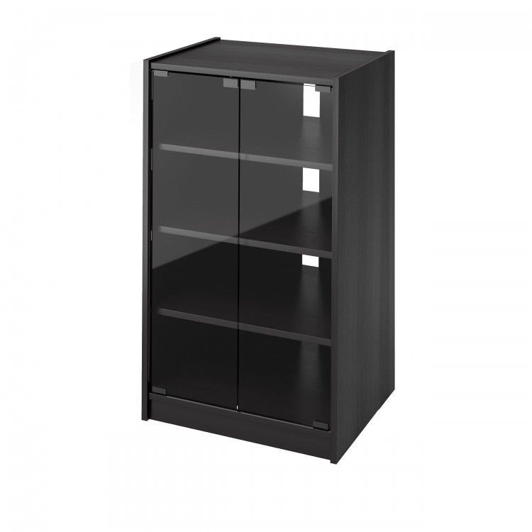 Attirant Media Component Stand Black Audio Stereo Cabinet Storage Shelves TV Glass  Doors #MediasComponentStand