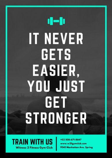 Turquoise Black & White Photo Motivational Gym Poster