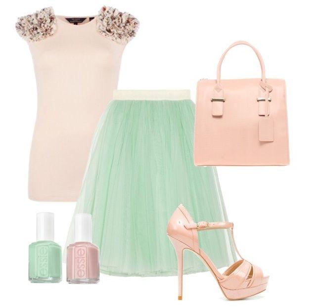 Ted Baker Top| D Skirt| ASOS Bag| Zara Shoes| Essie Figi| Essie Mint ...