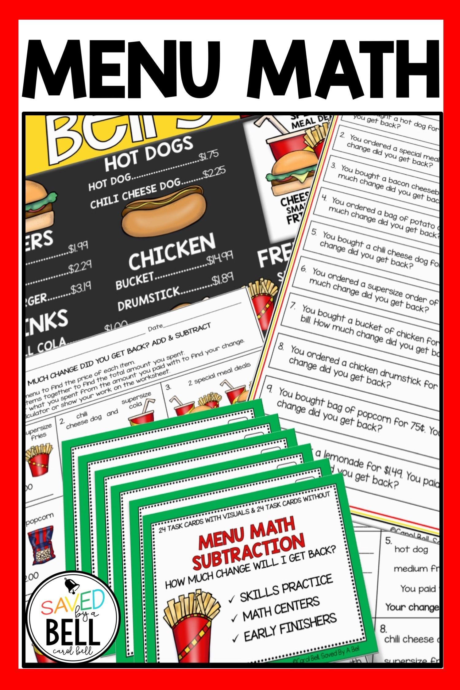 Subtraction Worksheets And Task Card Bundle Menu Math