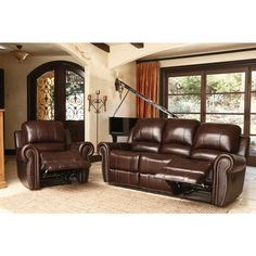 ABBYSON LIVING Broadway Premium Top-grain Leather Reclining Reclining Sofa and Armchair - Overstock™ Shopping - Big Discounts on Abbyson Living Living Room Sets