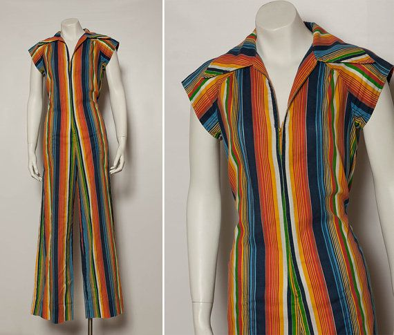 b5895a1bb70 vintage 70s rainbow striped jumpsuit by StopTheClock on Etsy