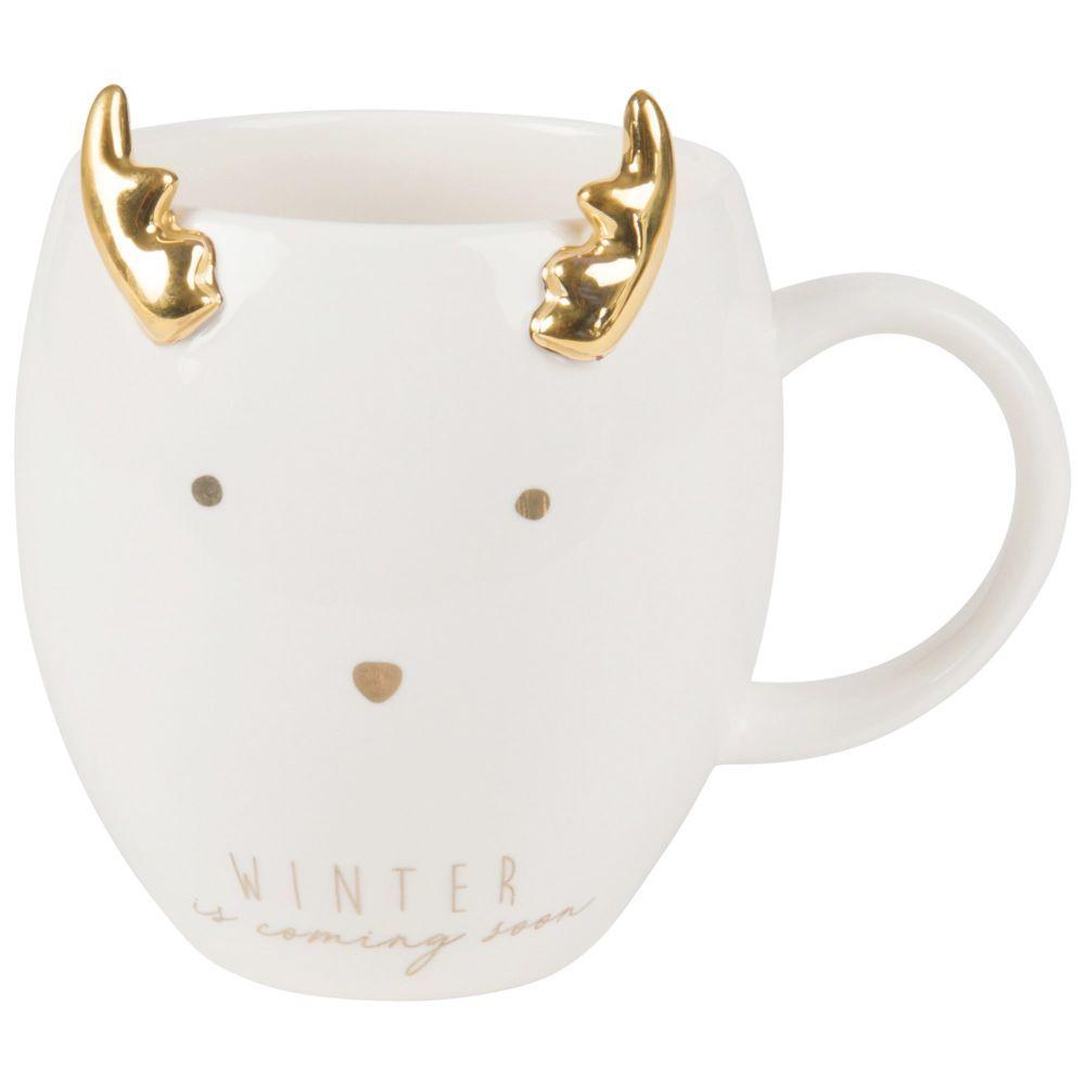 White Porcelain Reindeer Mug  Maisons du Monde  Mugs, White