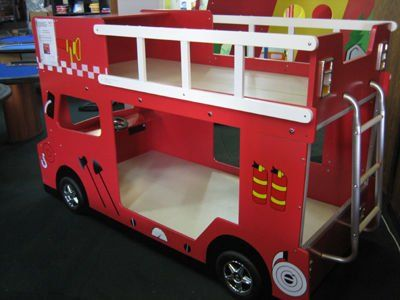 double decker fire engine bunk bed shared by lion cool stuff for rh pinterest com