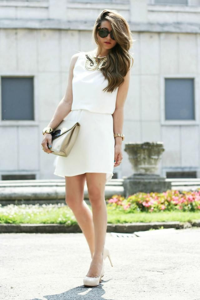 Shop this look on Kaleidoscope (dress, clutch, pumps, necklace, sunglasses)  http://kalei.do/W9pzZq5rbUpeqVHp