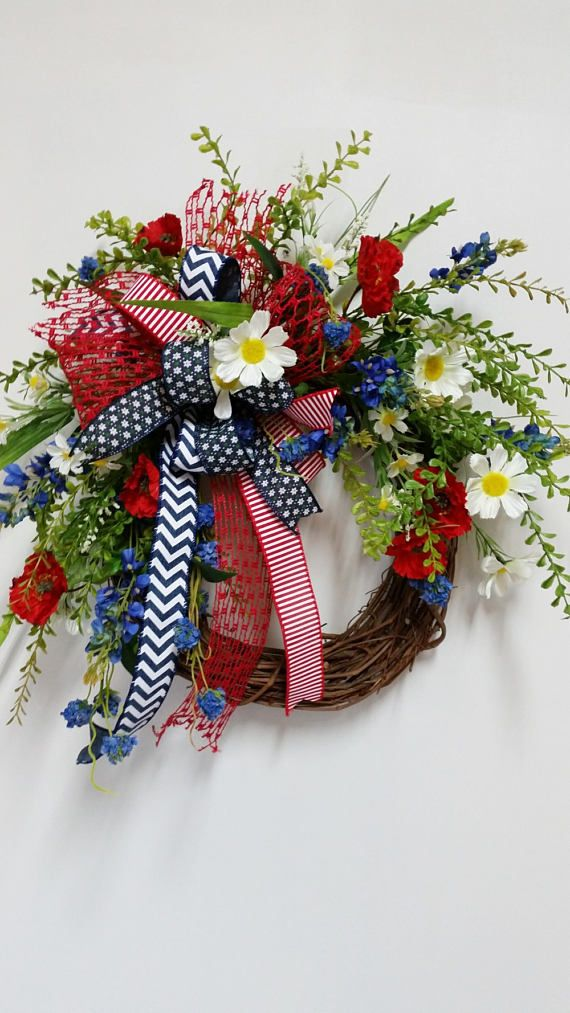 Red White Amp Blue Patriotic Floral Grapevine Wreath Patriotic Wreath Americana Wreath 4th Of