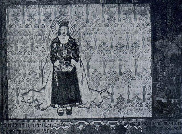 Illustration: Alfred Wallander (artist), Svensk Konstslojd (weaver). The Blessed Virgin tapestry design, c1913.