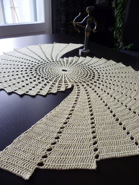 """$PATTERN:   Fractal doily by Essi Varis (I love her description on etsy! """"Enjoy crocheting? But feeling uncomfortable with that lacy, grandmotherish vintage feel that crocheted decorations tend to have? Fear not! For what is crocheting but algorithms? And what could result into cleaner, more modern shapes than the simplest of mathematics? This is not your Great Auntie's doily - though it might as well be. Hardly anything is more timeless than fractals, after all."""""""