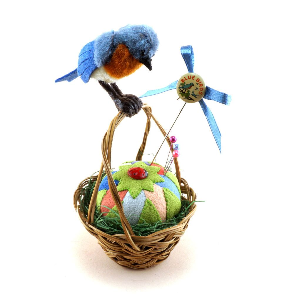 Janie Comito OOAK 2016  May Day Blue Bird, Basket, Pin Cushion & Antique Pin  #MayDay