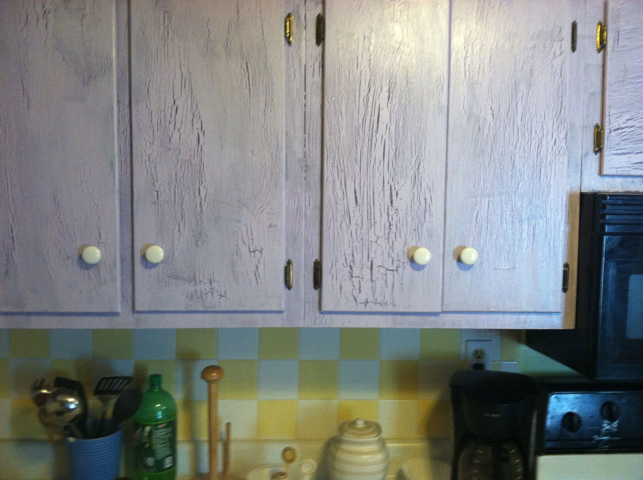 Crackle paint with (Elmer's glue) my kitchen cabinets ...