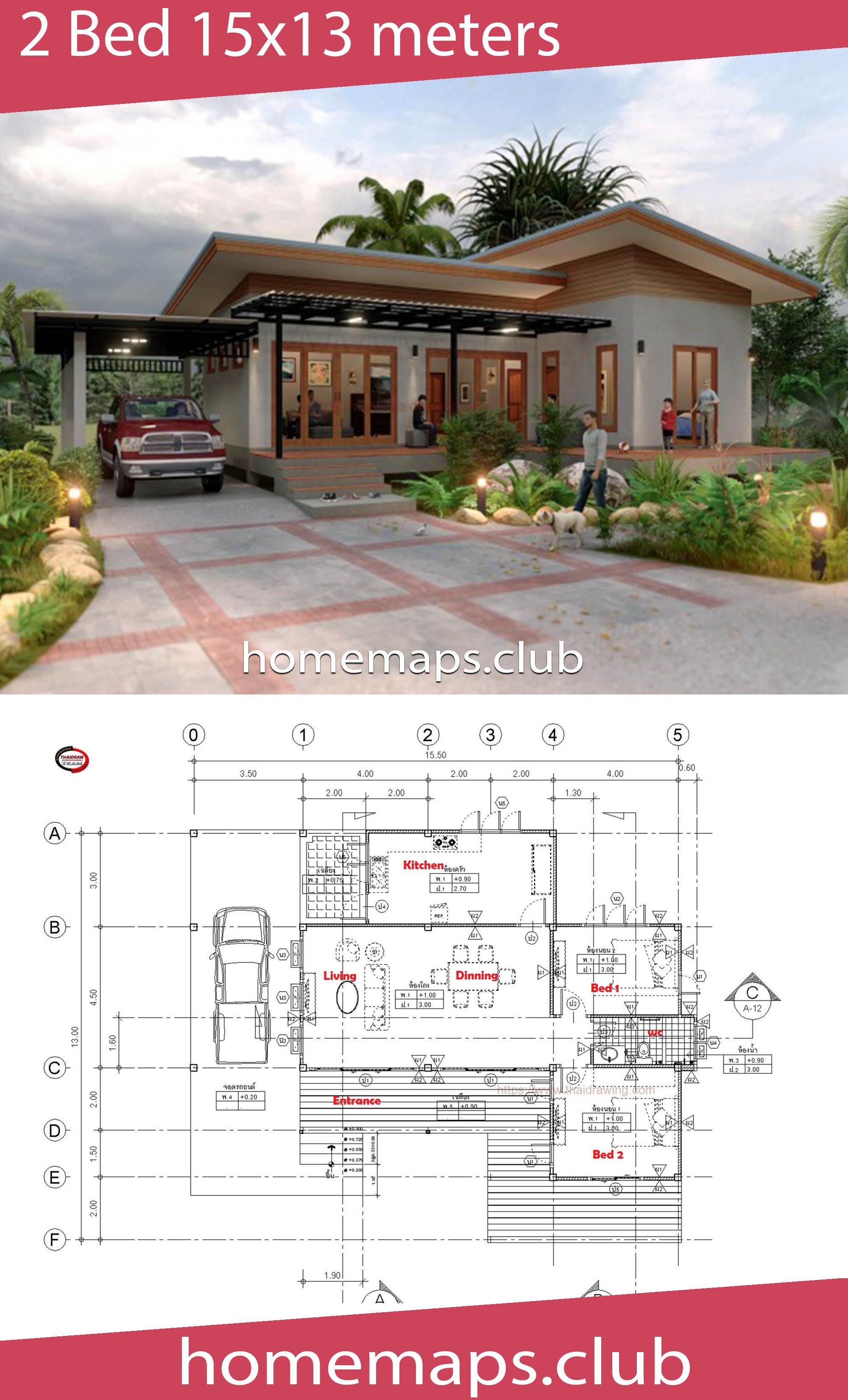 House Design 15x13 With 2 Bedrooms Home Maps House Design House Map House