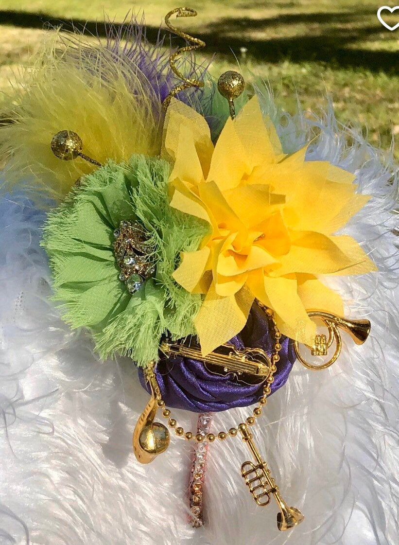 Purple, Green/Gold Mardi Gras Fascinator Headband/Mardi Gras Feather Headband/Party Headband/NOLA/Mardi Gras Headpiece/Baby Girl Headband