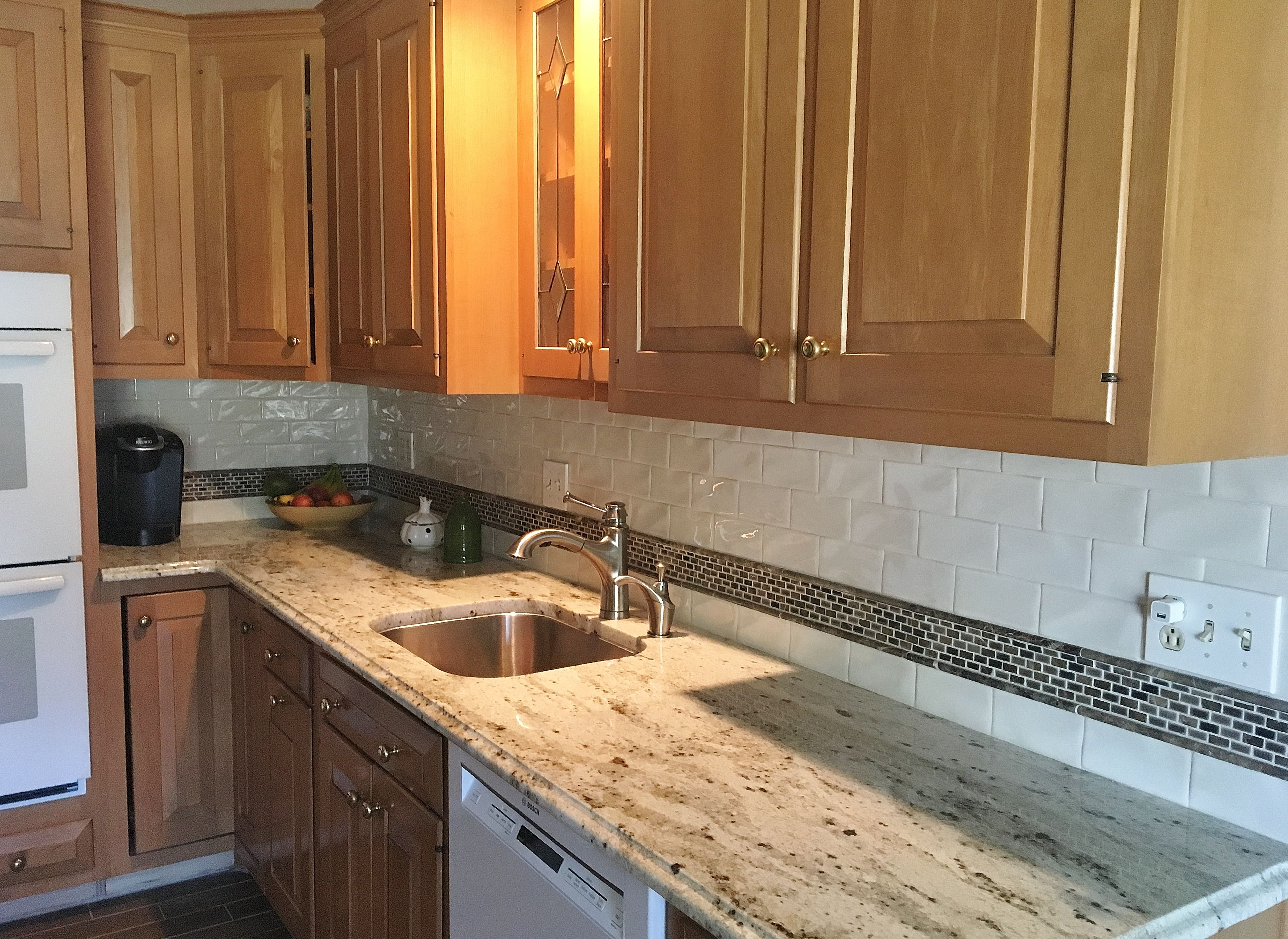warm traditional kitchen with colonial cream granite countertops a