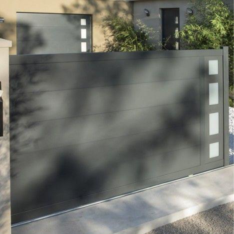 Portail Coulissant En Aluminium Austin 3 5m X 1 70 M Couleur Gris Zingue Portail Coulissant Portail Portail Aluminium