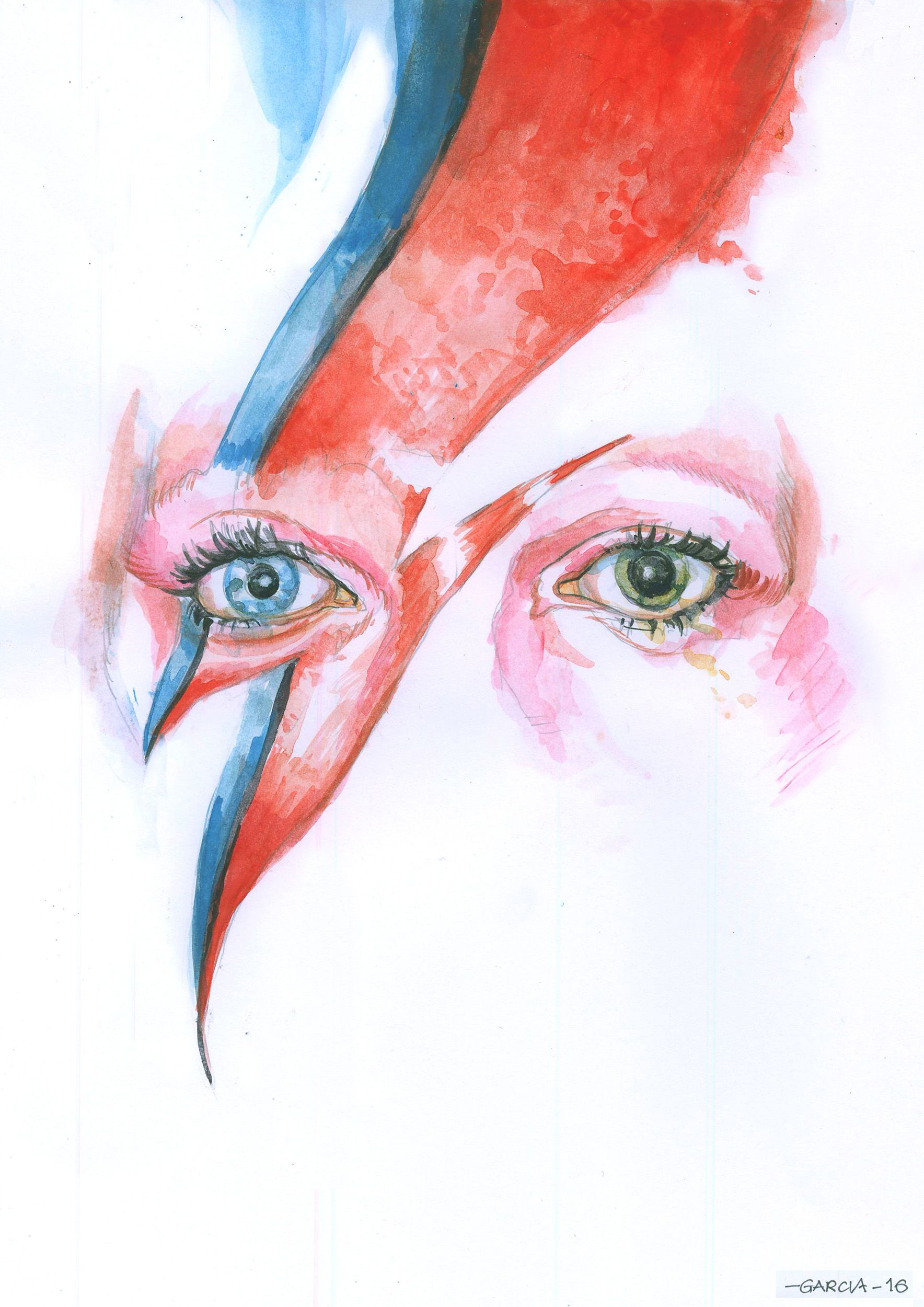 art by daniel garcia david bowie illustration watercolor rock eyes music idols and. Black Bedroom Furniture Sets. Home Design Ideas