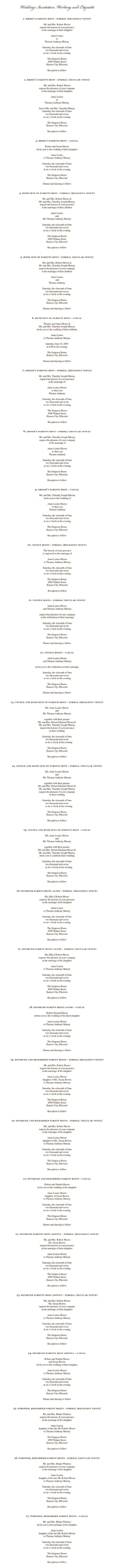 Wedding Invitation Wording And Etiquette Invitations Pinterest