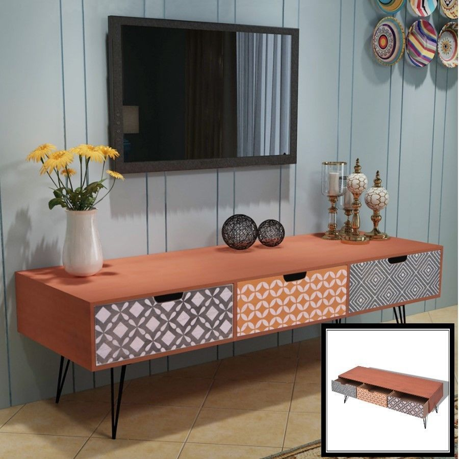 Retro Tv Cabinet Brown Retro Tv Cabinet Storage Drawers Sideboard Low Side Console
