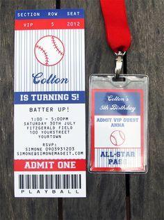 Baseball Birthday Party Ticket Invitations