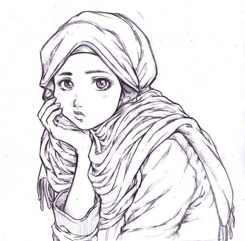 Thinking muslim girl drawing