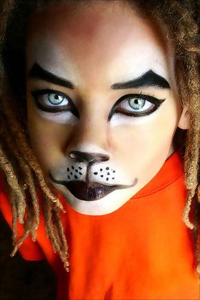 maquillaje makeup halloween facepaint for tabby cat costume - Scary Cat Halloween Costume