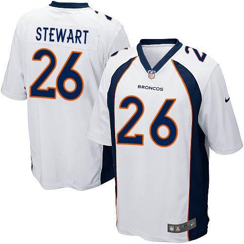 492a27c7f Nike Game Darian Stewart White Men s Jersey - Denver Broncos  26 NFL Road