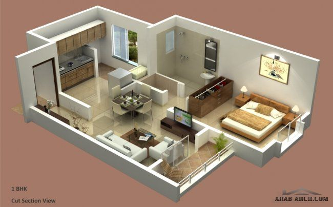 خرائط شقق استوديو غرفة نوم واحدة House Styles House Layouts Home Decor