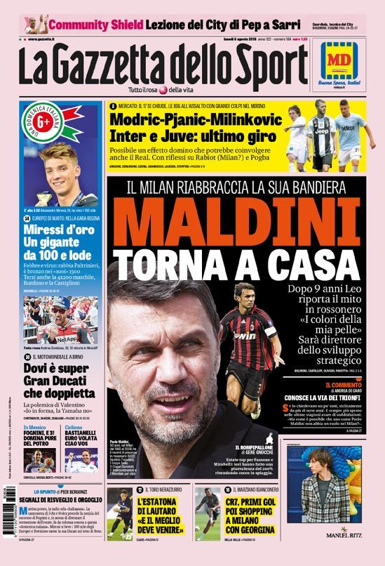 La prima pagina de La Gazzetta dello Sport di oggi