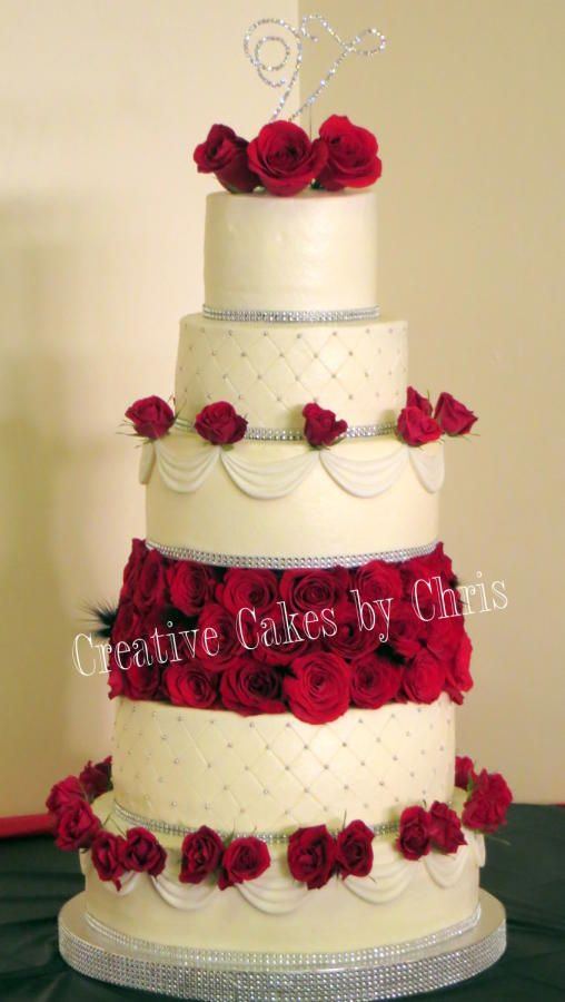 5 tier Bling and Roses Wedding Cake - Cake by Creative Cakes by ...