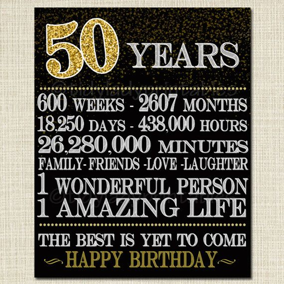 image about Free Printable 50th Birthday Signs referred to as Printable 50th Birthday Signal, Cheers in the direction of 50 Yrs, Cheers