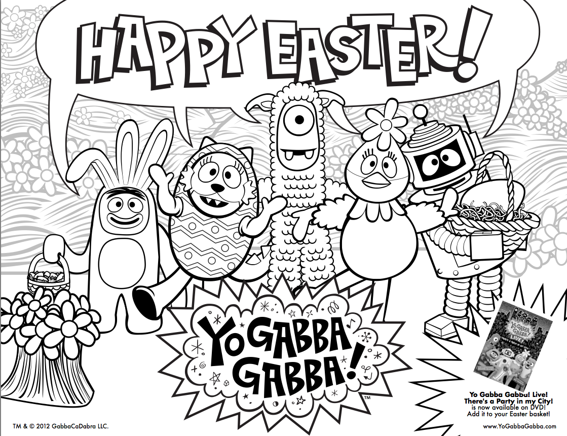 Easter Is Coming Print This Free Yogabbagabba Coloring Sheet For Your Easter Baskets Coloring Pages For Kids Easter Fun Easter Svg