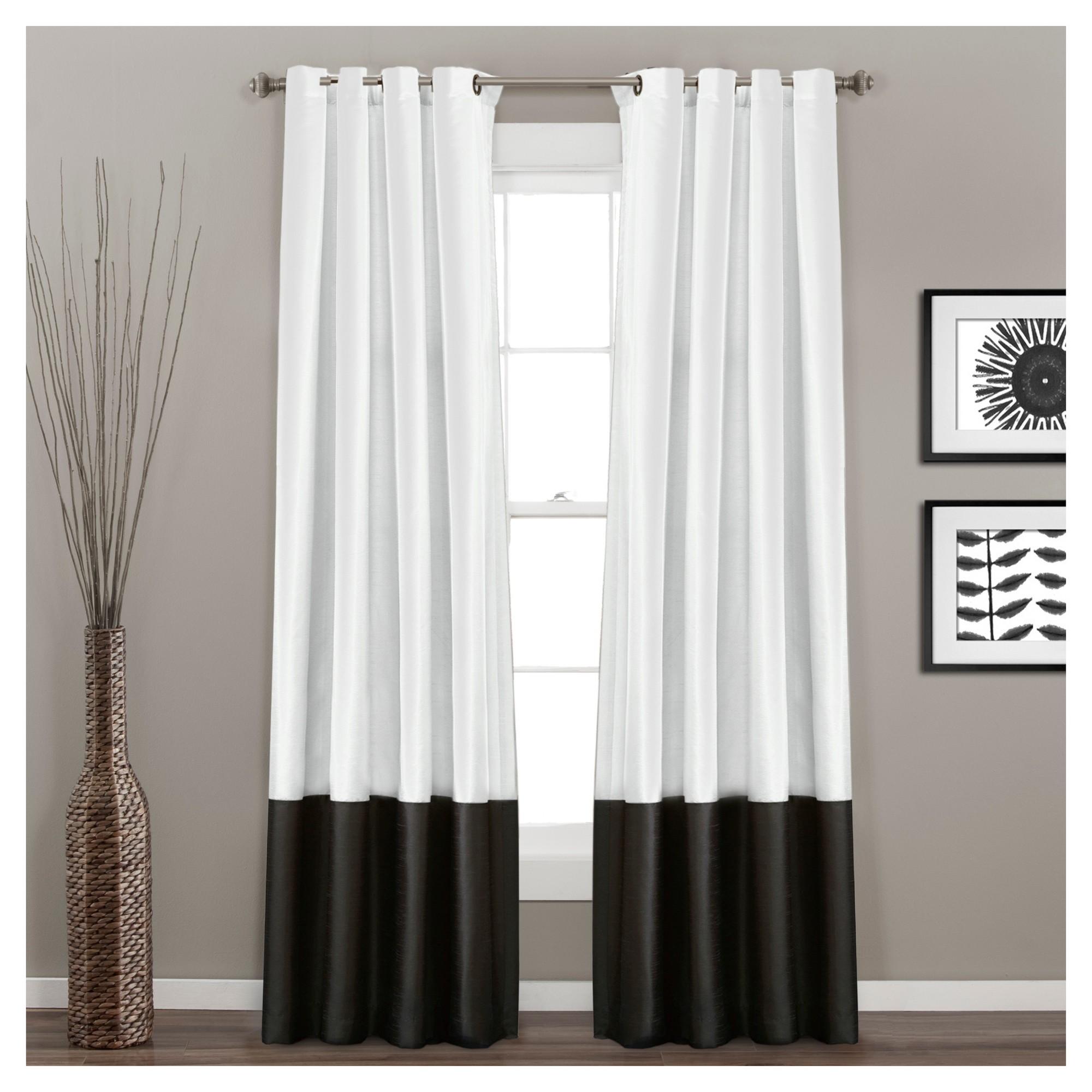 Set Of 2 84 X54 Prima Window Curtain Panel Black White Lush