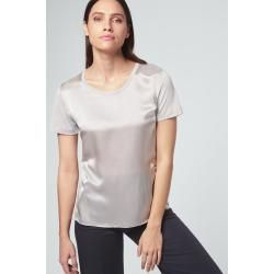 Photo of Silk short-sleeved shirt in light gray windsor