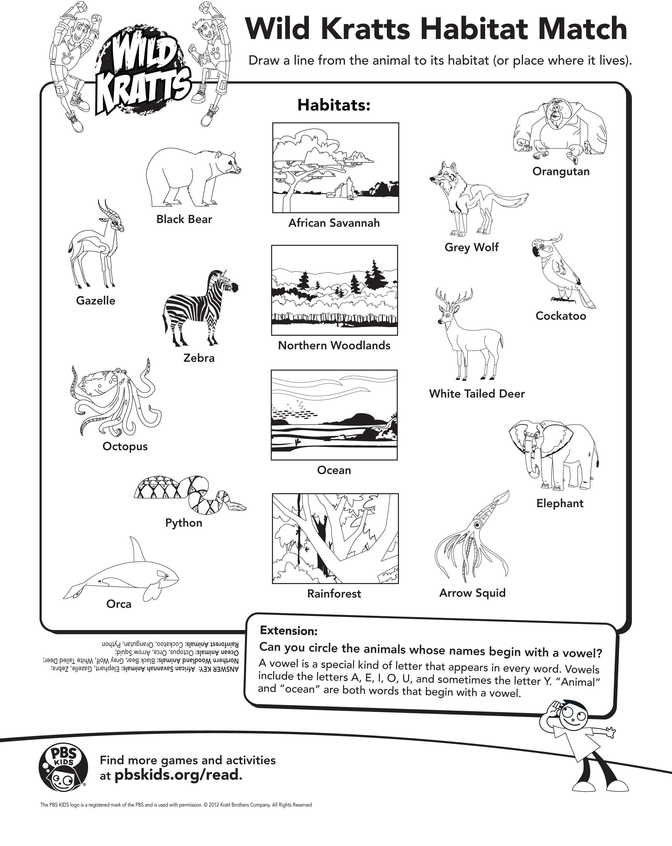 Draw A Line From The Animal To It S Habitat Wild Kratts Activity Page Wild Kratts Wild Kratts Birthday Wild Kratts Party