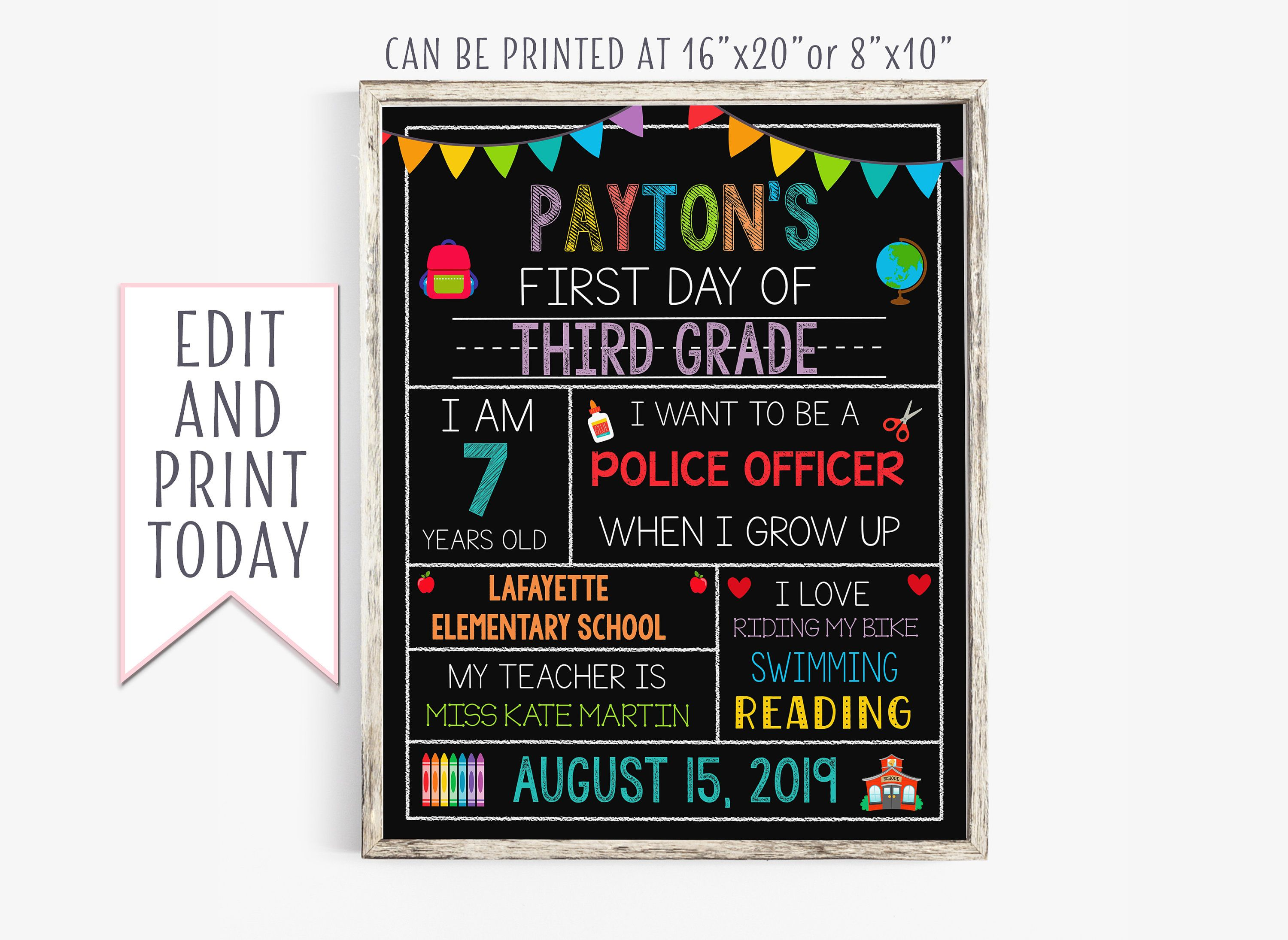 Instant Download First Day of School Sign, First Day of School Signs, Editable Last Day of School Sign, Printable School Signs #firstdayofschoolsign