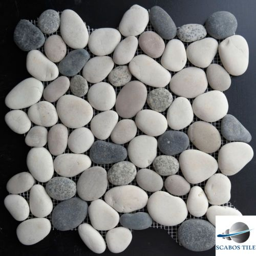 Grey Mixed Round Pebble Mosaic Tile Backsplash Bathroom