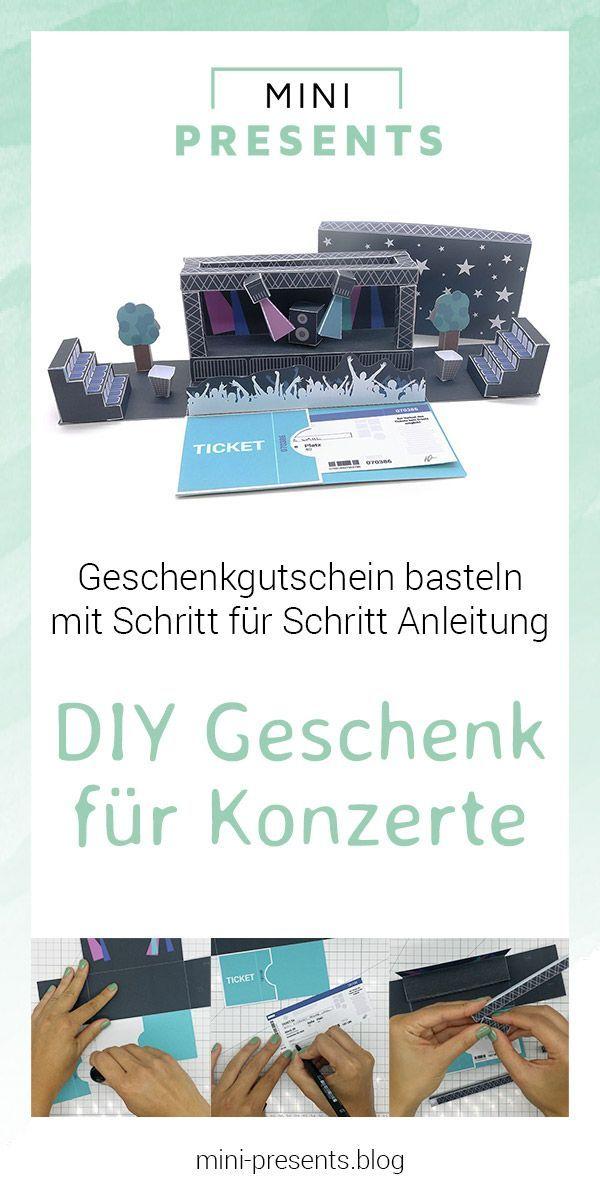 DIY Gutschein für Konzertkarten basteln | mini-presents Blog #konzertkartenverpacken