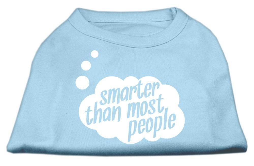Smarter Then Most People Screen Printed Dog Shirt Baby Blue Med (12)