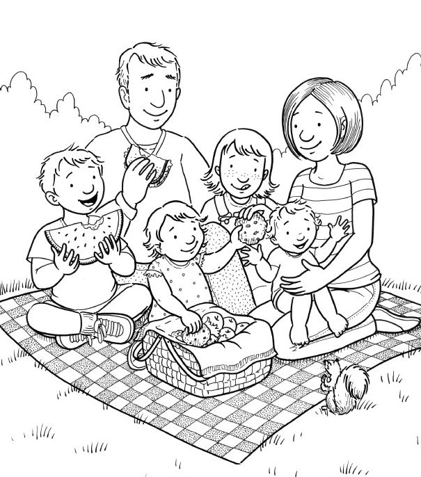 Mormon Share Family Picnic Family Coloring Pages Lds Coloring