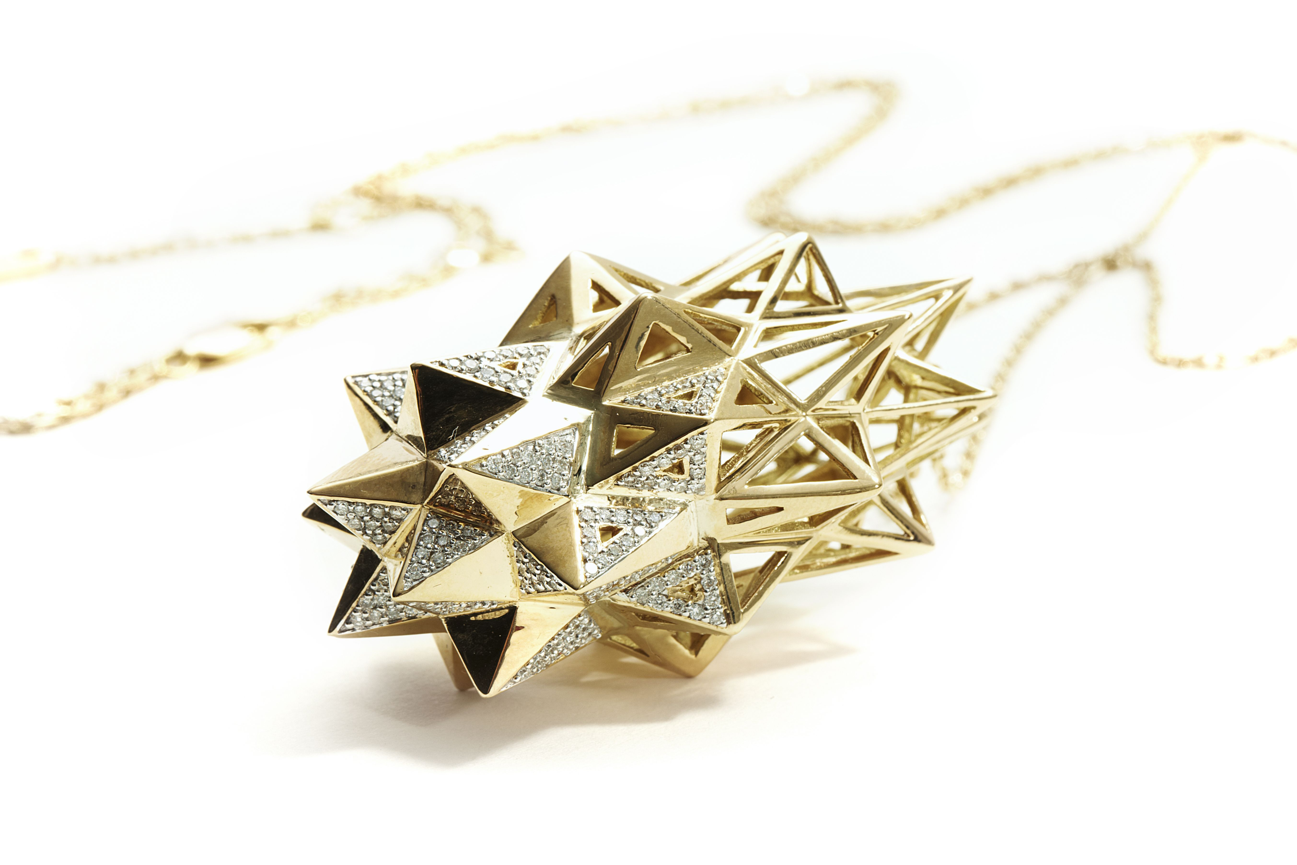 John Brevard- Stellated Star Diamond Golden Pendant