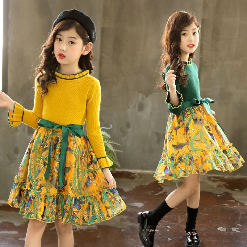Girls Dress Kids Pageant Autumn Dress Cotton Long Sleeve Casual Fashion Party