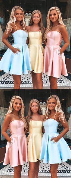 A Line Strapless Light Blue Short Homecoming Dress With Pockets Beading  ML1414 #homecomingdresses